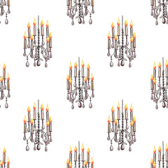 Seamless pattern of the chandeliers with candles, hand drawn on a white background