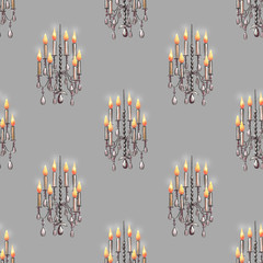 Seamless pattern of the chandeliers with candles, hand drawn on a gray background