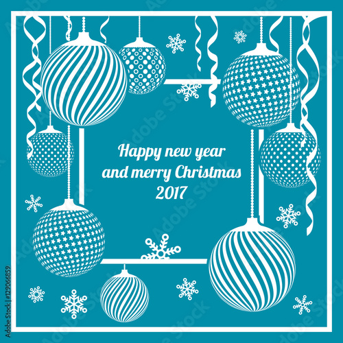 Banner for Christmas and new year, exclusive Christmas decorations, balls, snowflakes, serpentine, flat design vector background. Cover for Christmas cards.