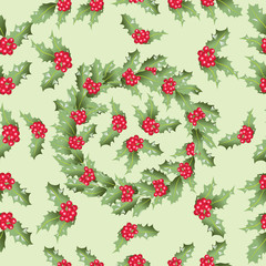 Holly. A wreath of leaves and berries. Seamless pattern. Design for textiles, tapestries, napkins, wrapping paper.
