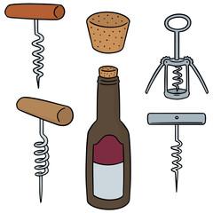 vector set of wine opener