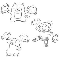 vector set of cheerleader, dog and cat