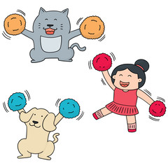 vector set of cheerleader, dog and cat