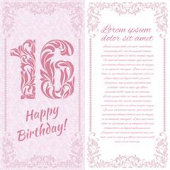 Happy 16th Birthday. Greeting card