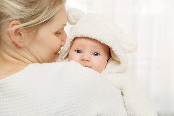 5f86bc0d76ee mother with her baby in fluffy bear costume over shoulder - Buy this ...