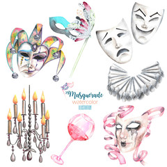 Masquerade theme set with masks in Venetian style, theater masks and elements of carnival, hand drawn isolated on a white background