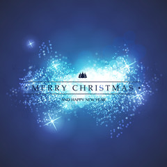 Blue and White Happy Holidays, Merry Christmas Greeting Card With Label on a Sparkling Blurred Background