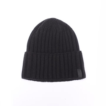 black knitted men's hat isolated on white