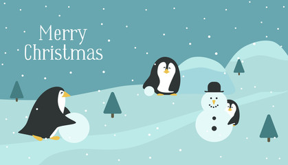 Christmas card with penguins. The penguins mom, dad and baby make a snowman. The flat design style