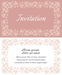 Elegant invitation layout with vintage frames. There is a place for text