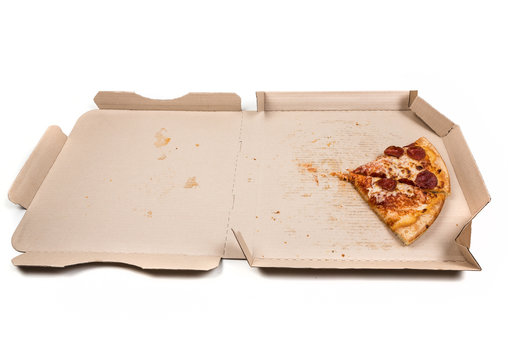 Leftover pizza in box isolated on white background