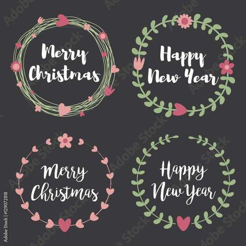 christmas labels and badges set of floral wreath frame for merry christmas and happy new