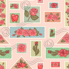 Seamless pattern with stamps