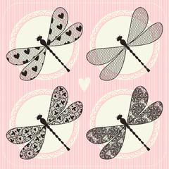 Illustration of dragonfly. Vintage lace. Set
