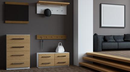 Modern hallway with furniture. 3D rendering
