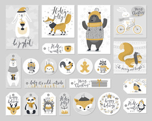 Fototapete - Christmas set, hand drawn style - calligraphy, animals and other elements. Vector illustration.