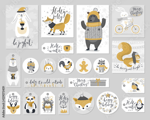 Wall mural Christmas set, hand drawn style - calligraphy, animals and other elements. Vector illustration.