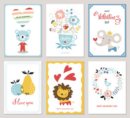 Valentine's Cards design collection. Bouquet, floral wreath, apple, pear, bird, hearts, Teddy Bear, elephant and little lion. Vector illustration.