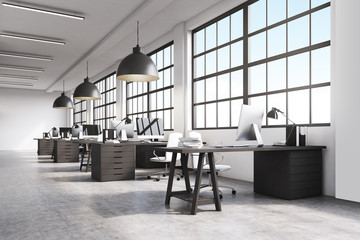Office interior with massive ceiling lamps
