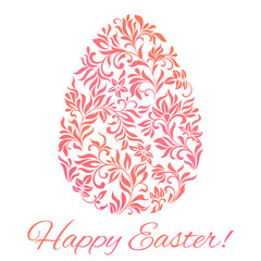 Card Happy Easter! Easter egg in floral style.