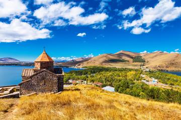 Foto op Aluminium Scenic view of an old Sevanavank church in Sevan, Armenia