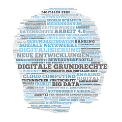 ct34 CloudText - big data head word cloud - english: digitization / digital civil rights - german: Digitalisierung / Digitale Grundrechte - g4794