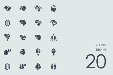 Set of brain icons