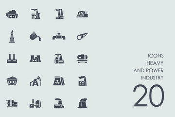 Set of heavy and power industry icons
