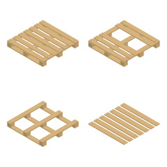 Wooden pallet isometric, vector illustration.