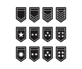 Black Army Shield Epaulets, Military Ranks and Insignia