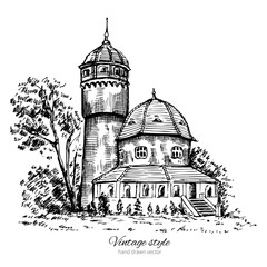 Tower of municipal hydropathic, Svetlogorsk, Landmark of the Kaliningrad region, Russia, Vector hand drawn doodle sketch isolated on white background, Postcard drawing template with european houses