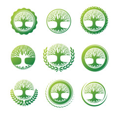 Tree icon and label. Vector