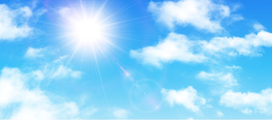 Sunny background, blue sky with white clouds and sun Fotobehang
