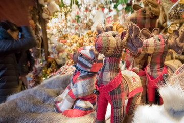 Christmas Market, Toys and Gifts. People Shopping