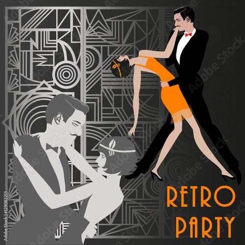 А couple dancing the charleston retro party invitation design