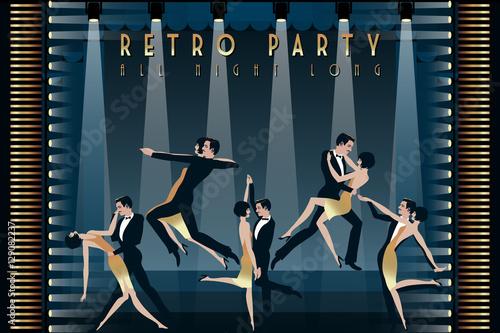 A Couple Dancing The Charleston Retro Party Invitation Design