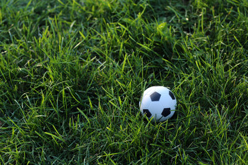 Soccer ball on grass background. Close up
