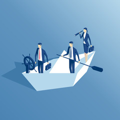 isometric business people are floating on a paper boat, the leader at the helm, another businessman stands with a paddle, a businesswoman looking through a telescope. business concept team