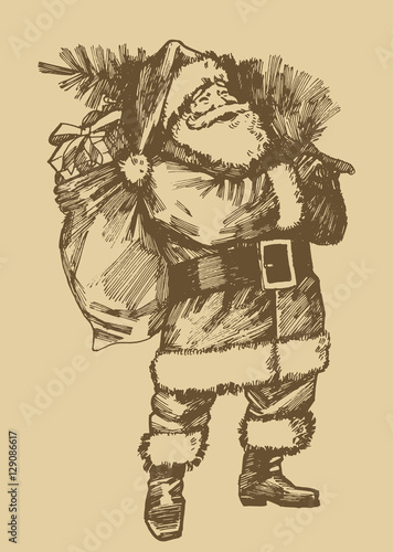Santa Claus Etching Style Drawing Vintage Style Christmas Card