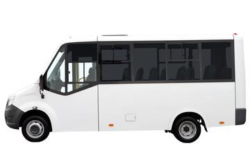 White minibus isolated on white background.