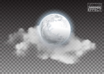 Realistic detailed full big moon with clouds isolated on transparent background. Creative Vector illustration