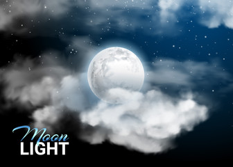Moonlight night Full Moon. Mystical sky Realistic clouds. and stars. Shining on dark blue. Vector illustration background