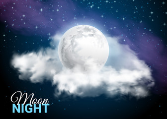 Full Moon Against the background of the Milky Way. Mystical Sky Moonlight night. Clouds and stars. Realistic. Shining on dark blue. Vector illustration