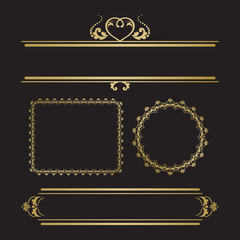Set of decorative borders and frames for invitation or post card