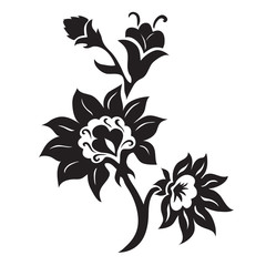 Black and white floral silhouette ornament