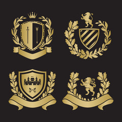 Coat of arms set. Based on and inspired by old heraldry