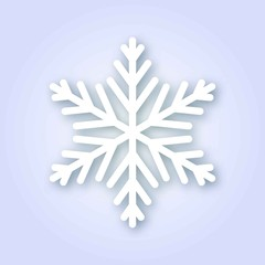 Snowflake with realistic shadow, vector illustration.