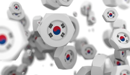 Nuts levitation group with flag of the Korea. Shallow depth of focus. 3D rendering