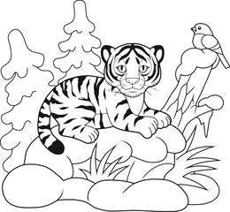 cute cartoon tiger lying in the snow