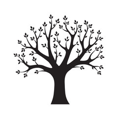 Black vector Tree. Vector Illustration. Park and Nature.